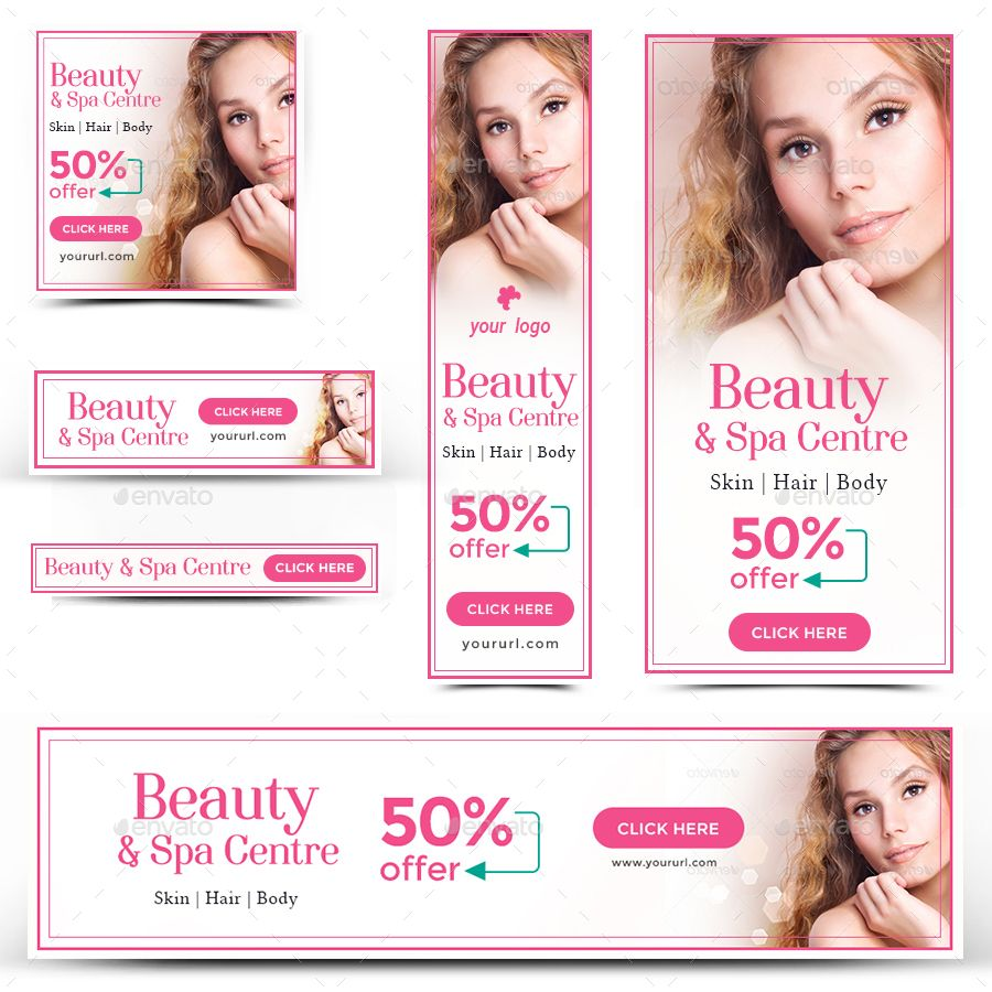 Beauty Spa Banners Bundle 5 Sets 86 Banners Beauty Spa Spa Adwords Banner