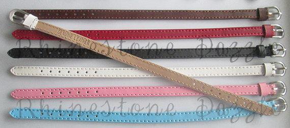 Genuine Leather Adjustable Bracelet for 8mm slide charms, Personalize name bracelet by Rhinestone Dazzle, $3.75