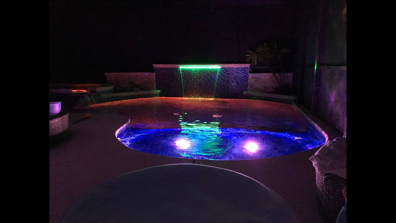 Led Waterfall With Led Lights Youtube Pool Light Swimming