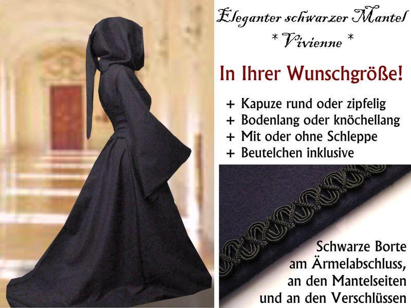 mittelalter mantel vivienne wolle schwarz gothic von sol et luna auf medioevo. Black Bedroom Furniture Sets. Home Design Ideas