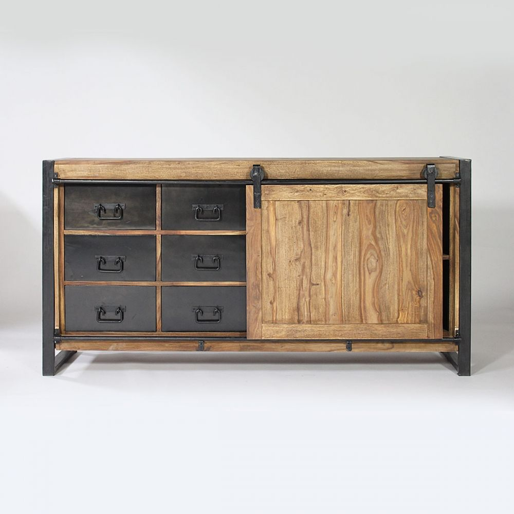 buffet industriel porte coulissante bois naturel 6 tiroirs m tal meubles manguier pinterest. Black Bedroom Furniture Sets. Home Design Ideas