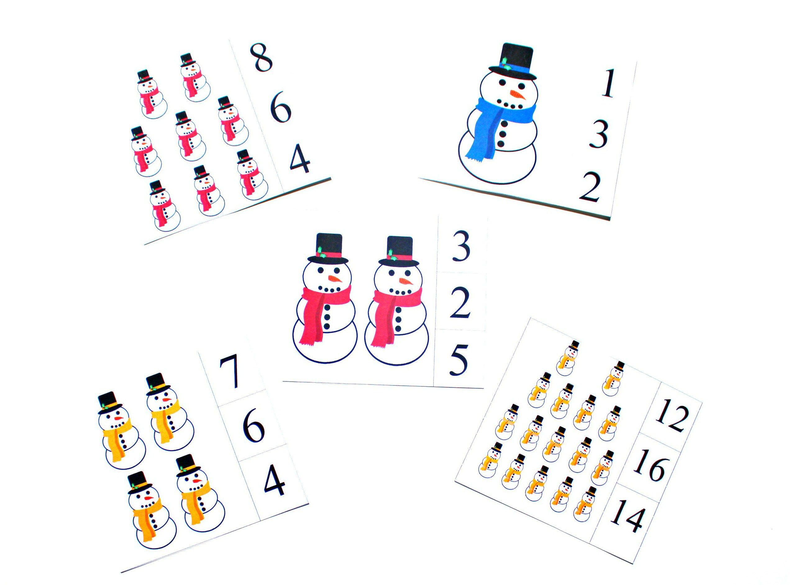 Snowman Clip Cards Printable Counting 1 20