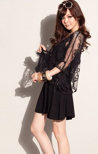 #fashion#Delicate Design Lace Embellished Bat-wing Sleeves Loose Cape Black http://www.clothing-dropship.com/delicate-design-lace-embellished-bat-wing-sleeves-loose-cape-black-g1660388.html