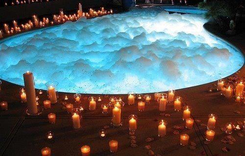 Candles romantic bubble bath swimming pool home | Party | Romantic ...