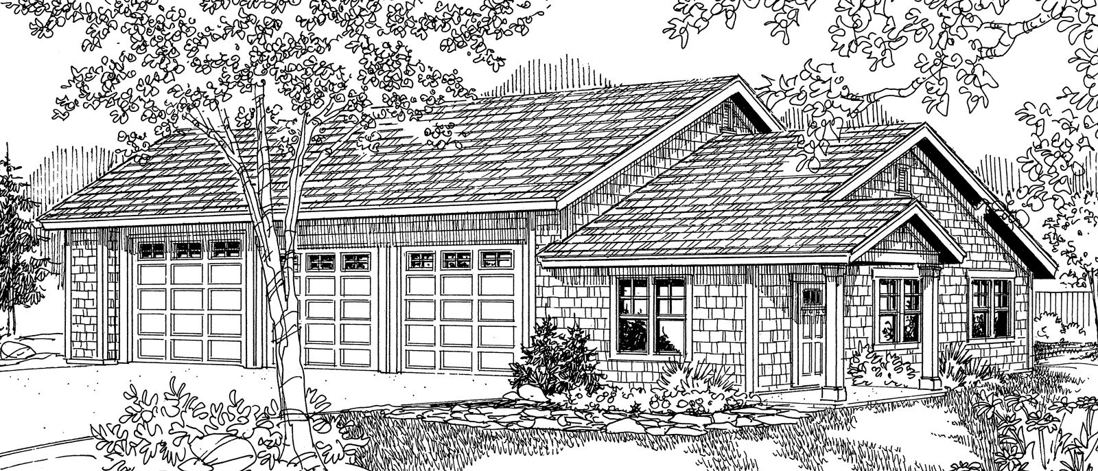 This Craftsman Garage Plan Features Three Garage Doors Two Doors Are 10 Wide And 10 Tall While The Rv Door Is 12 Wi Garage Plan Garage Plans Garage Design