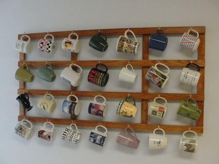 Mug board mugs pinterest for Coffee mug display rack