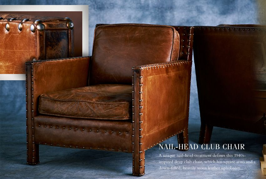 Pin On Mountain Living Leather nail head chair