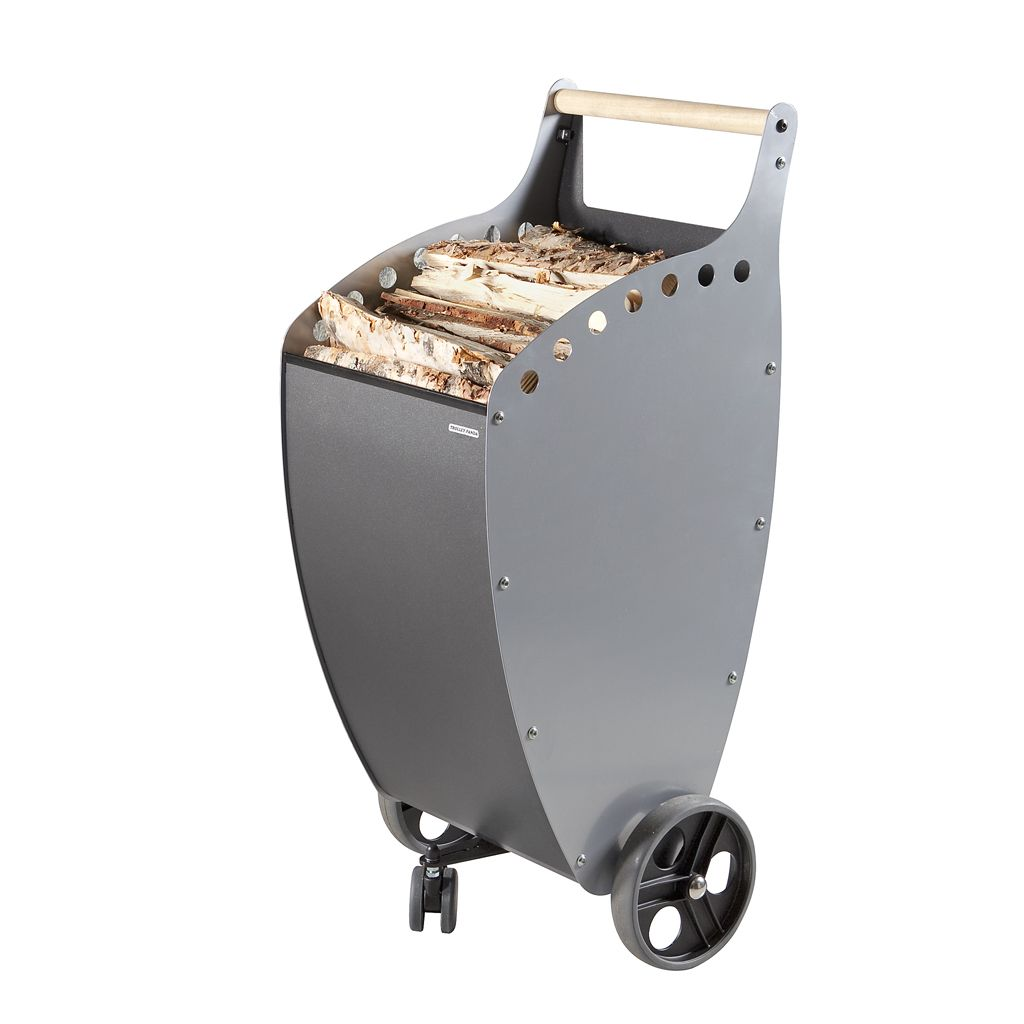 Practical, versatile and functional trolley for transporting and storing wood or pellets. Designed to aid handling heavy loads in a more ergonomic as well as stylistic manner.