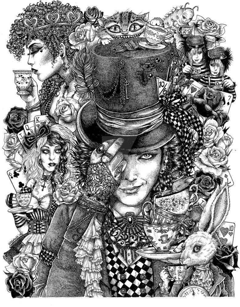 steampunk hatter u0027s tea party by lkburke29 deviantart coloring