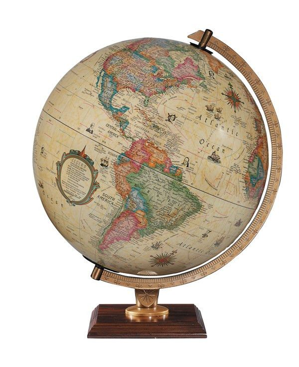 """Carlyle Illuminated Globe A traditional, antique style 12"""" globe showing countries and oceans of the world in subtle pastel shades. This globe has raised relief and illumination to bring a classic look to any home or boardroom. The sturdy die-cast half meridian mount is set upon a walnut hardwood base to give this globe a stylish and elegant look.  A stylish globe for the explorer who likes the historic feel. Price £174.99 #Globe #Map"""