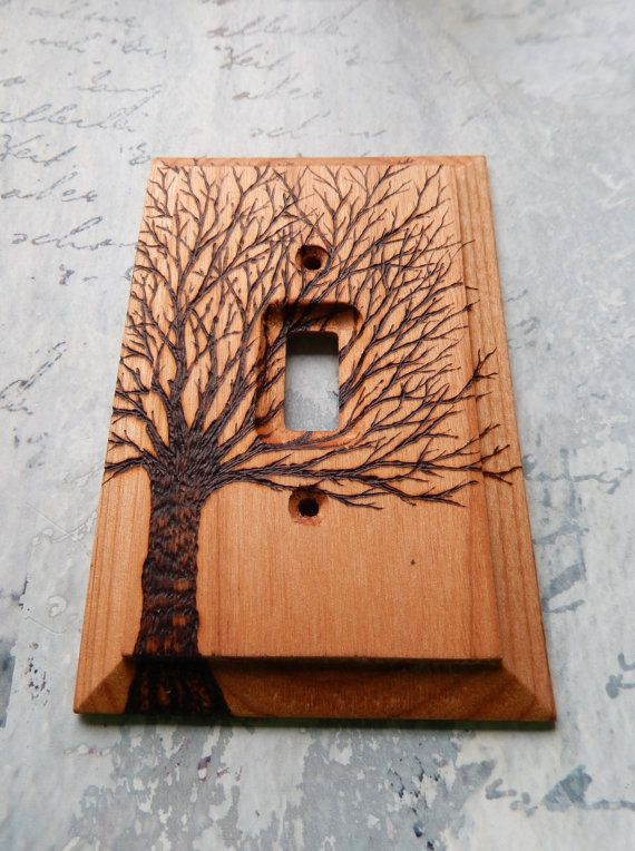 Bare Tree Wooden Switch Plate Cover Wood Burned By Tmbakerdesigns