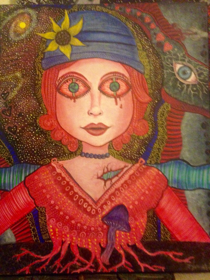 """Trippy Girl"" acrylic painting by Hannah Goude"