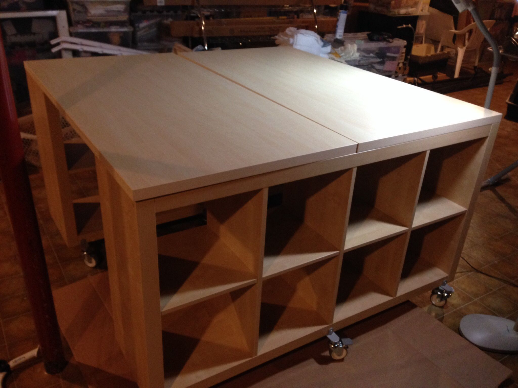 After Researching Ideas I Decided To Make My Own Counter Height Craft Sewing Table I Used Two Ikea Expedit Craft Table Ikea Sewing Rooms Ikea Expedit Shelf