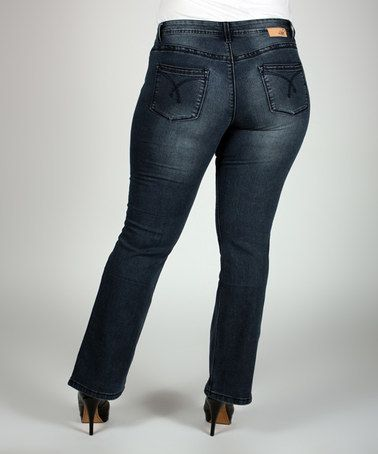Look at this #zulilyfind! Blue Distressed Lauren Bootcut Jeans - Plus by Lola Jeans #zulilyfinds