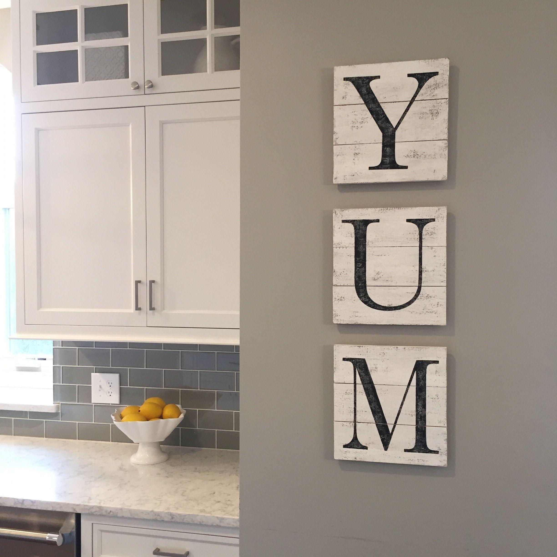 New Listing Yum Sign Wood Pallet Farmhouse Sign Kitchen Decor