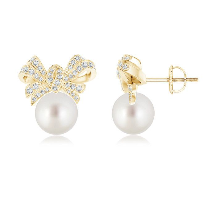 Angara Freshwater Cultured Pearl and Diamond Bow Earrings DpLubItMHe