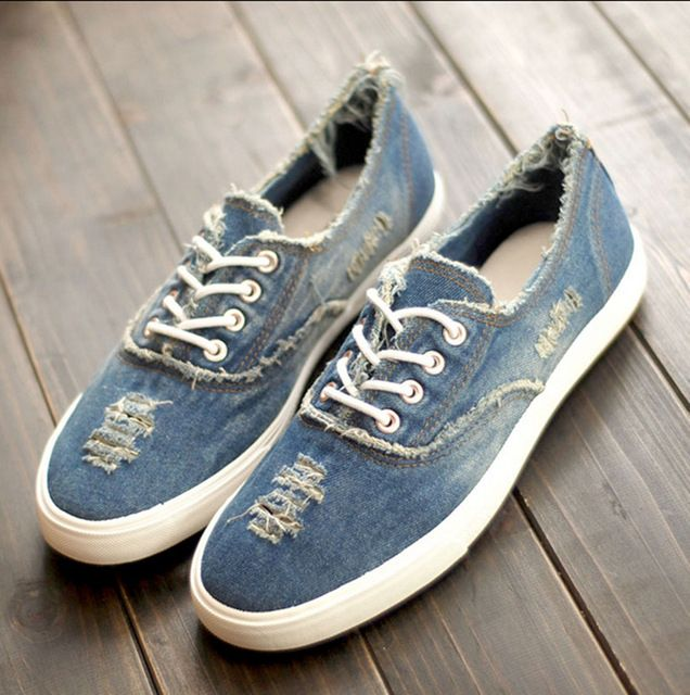 Lovers Shoes Summer Autumn Shoes Women Men Canvas Shoes Jean Denim Low Cut Fashion Lovers Flats