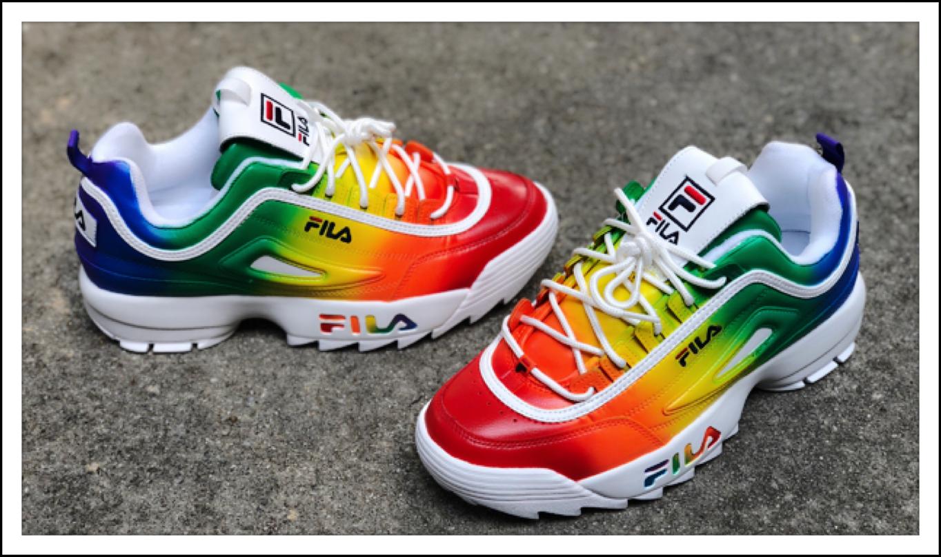 Rainbow Fila Disruptor in 2020 | Black fila shoes, Fila