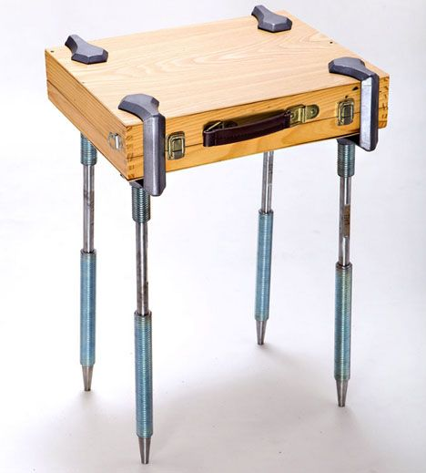 C Clamp Legs Can Turn Anything Into A Table Suitcase