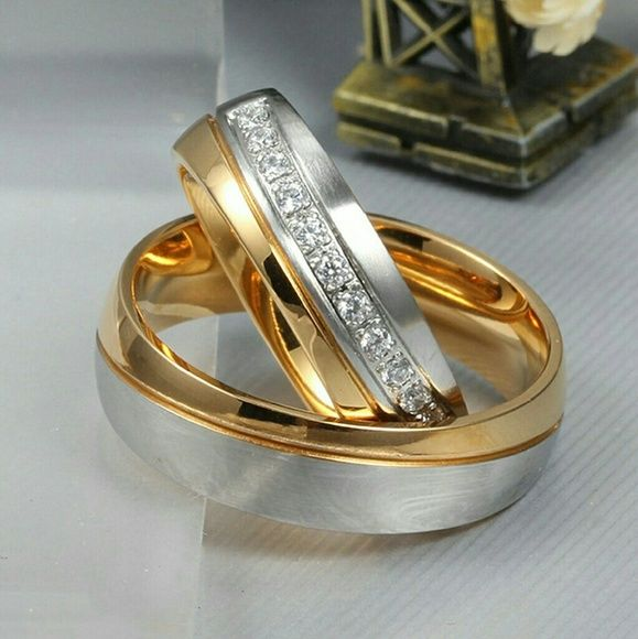 His and Her For Titanium 18K Gold-Plate2 ring set His and Her For Titanium 18K Gold-Plate ring set Ring Carrying The His and Her Love Promise.Perfect Valentine's Gift For Love His or Her.High Quality 316L Stainless Steel Polished Center / Matte Finish Polished Finish.Width: 6mm (0.3 inches) we have all sizes just tell us what size you need Jewelry Rings