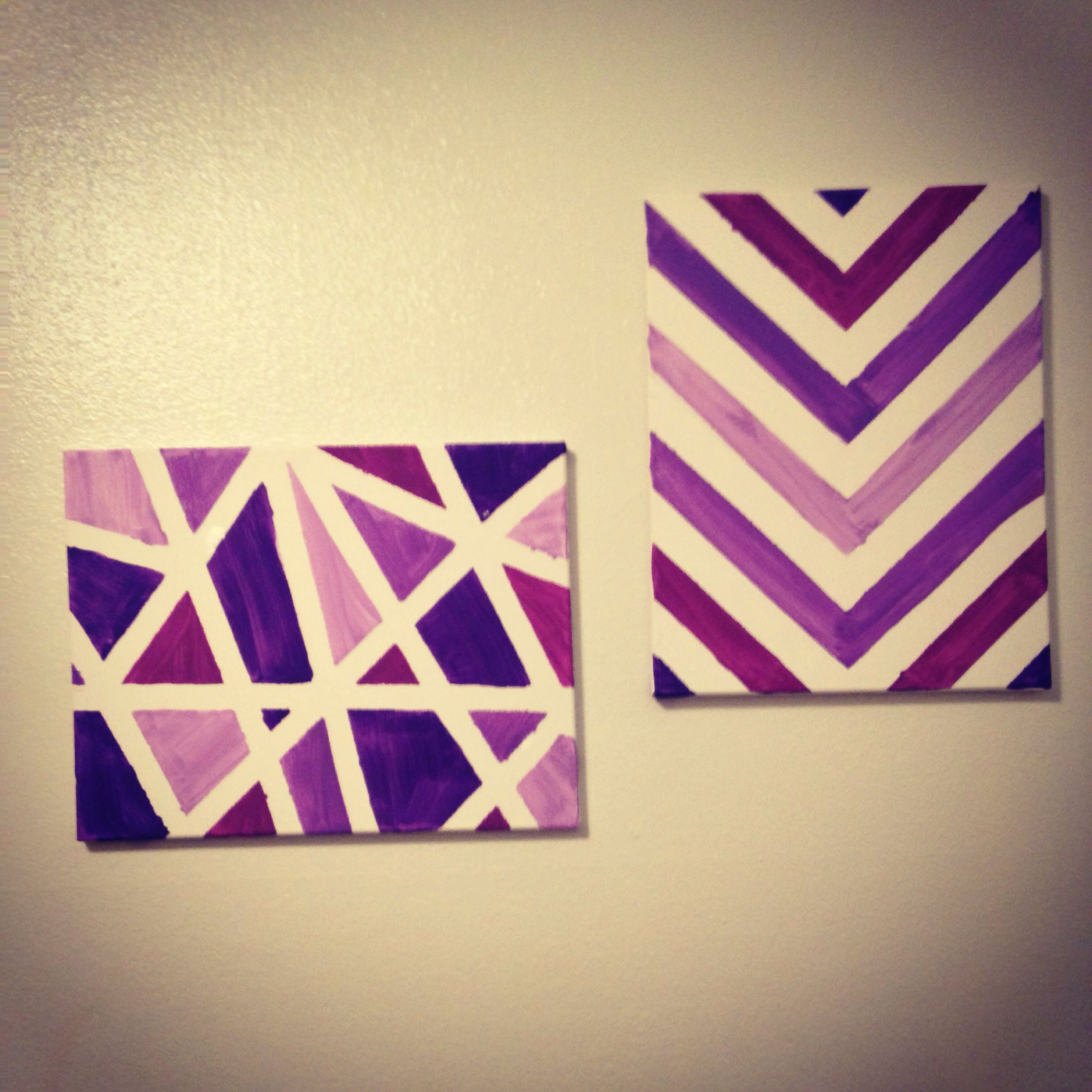 DIY canvas art. So easy to make and they coordinate well! Left side ...