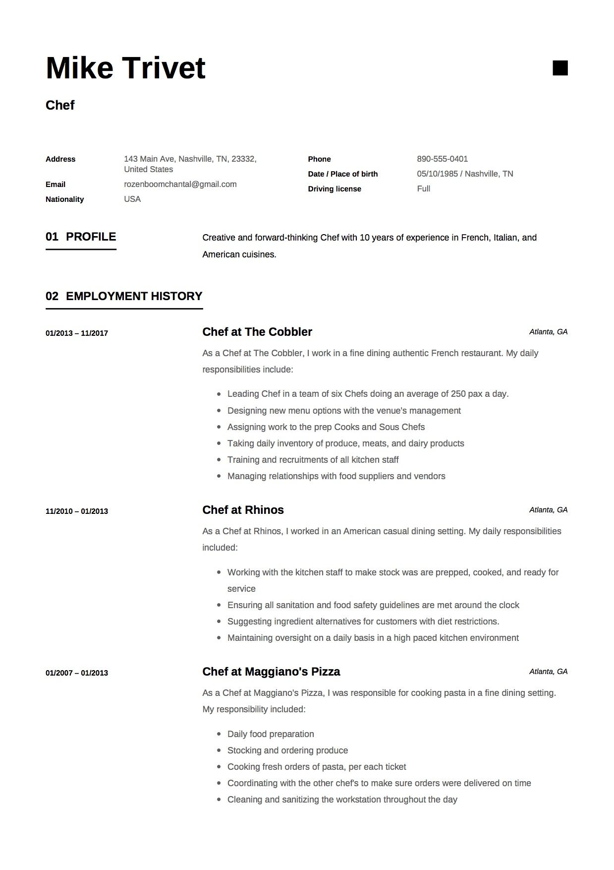 Chef Resume & Writing Guide [ 12 Templates ] (Free