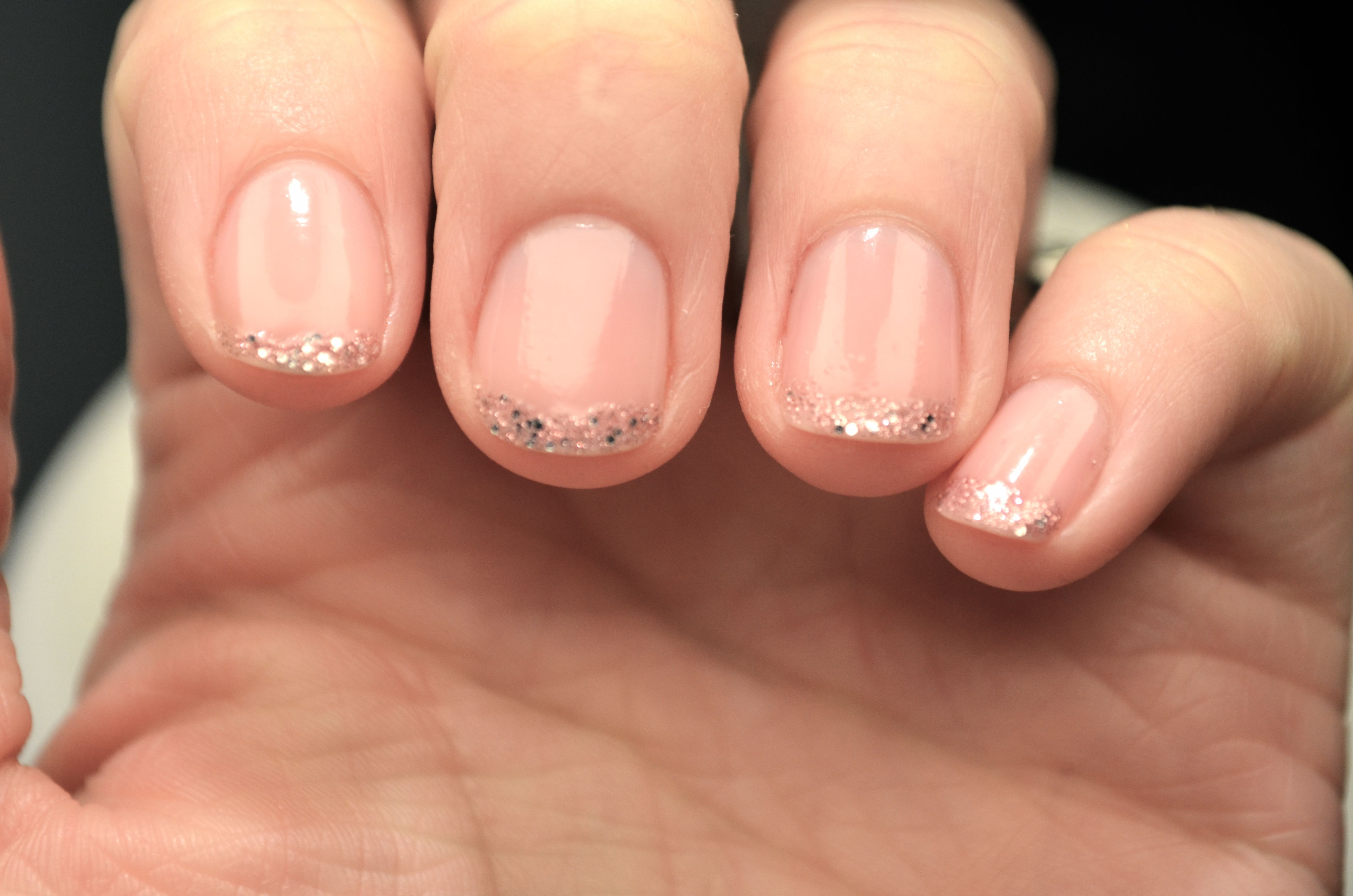 wedding nails - on just the ring finger; tiny line of glitter under ...