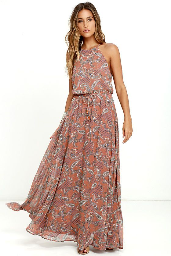 beda3e74 Add a touch of style to your day in the park with the Gazebo Spirit Rust  Orange Paisley Print Maxi Dress! Rust orange, cream, blue, and green paisley  print ...