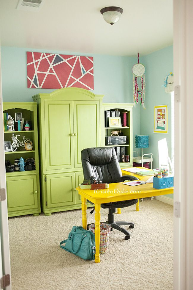 Colorful Home Office colorful home office reveal | white armoire, office makeover and