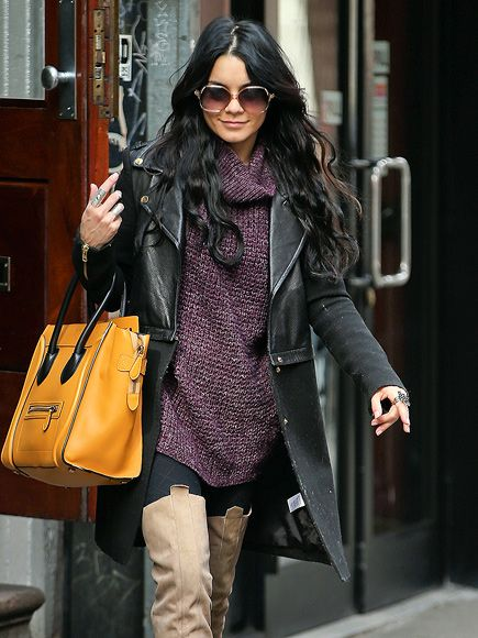 Vanessa Hudgens stayed warm 'n' cozy in a layered look, accessorized with a bright yellow tote and oversized geometric sunnies!