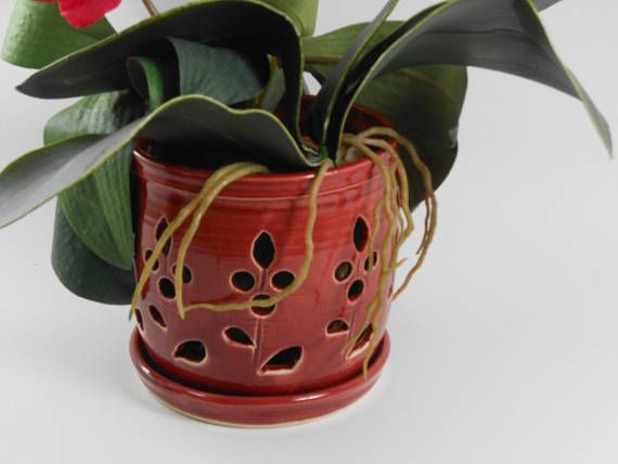 Ceramic Orchid Pot Orchid Cachepot Pottery Orchid Pot By Tamarack Stoneware Orchid Pot Ceramic Art Sculpture Ceramic Pots