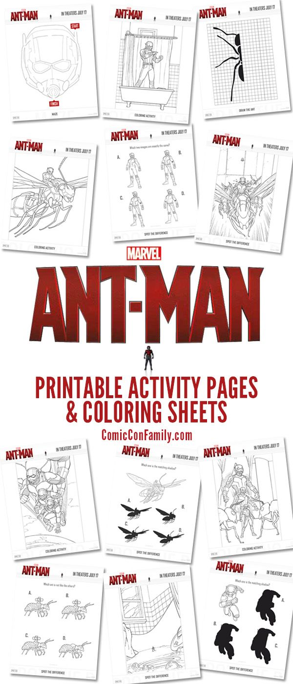 Free Printables: Marvel\'s Ant Man Coloring Pages and Activities ...