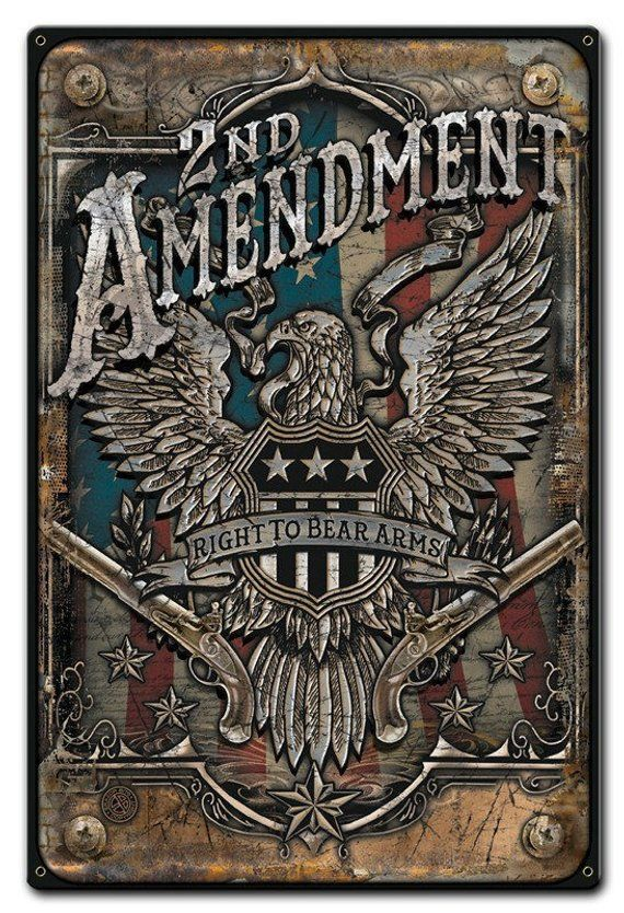 United States 2nd Amendment 18 X 12 Patriotic Art On Metal Sign