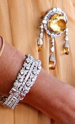 One of the two diamond bracelets made with parts from the dismantled East Indies bracelet. You can see also the big citrine and diamond brooch.
