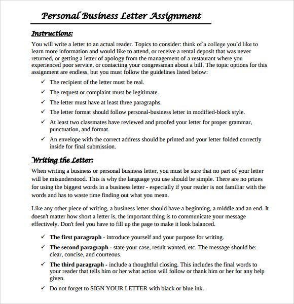 Sample Personal Business Letter Documents Pdf Word Format Quiz