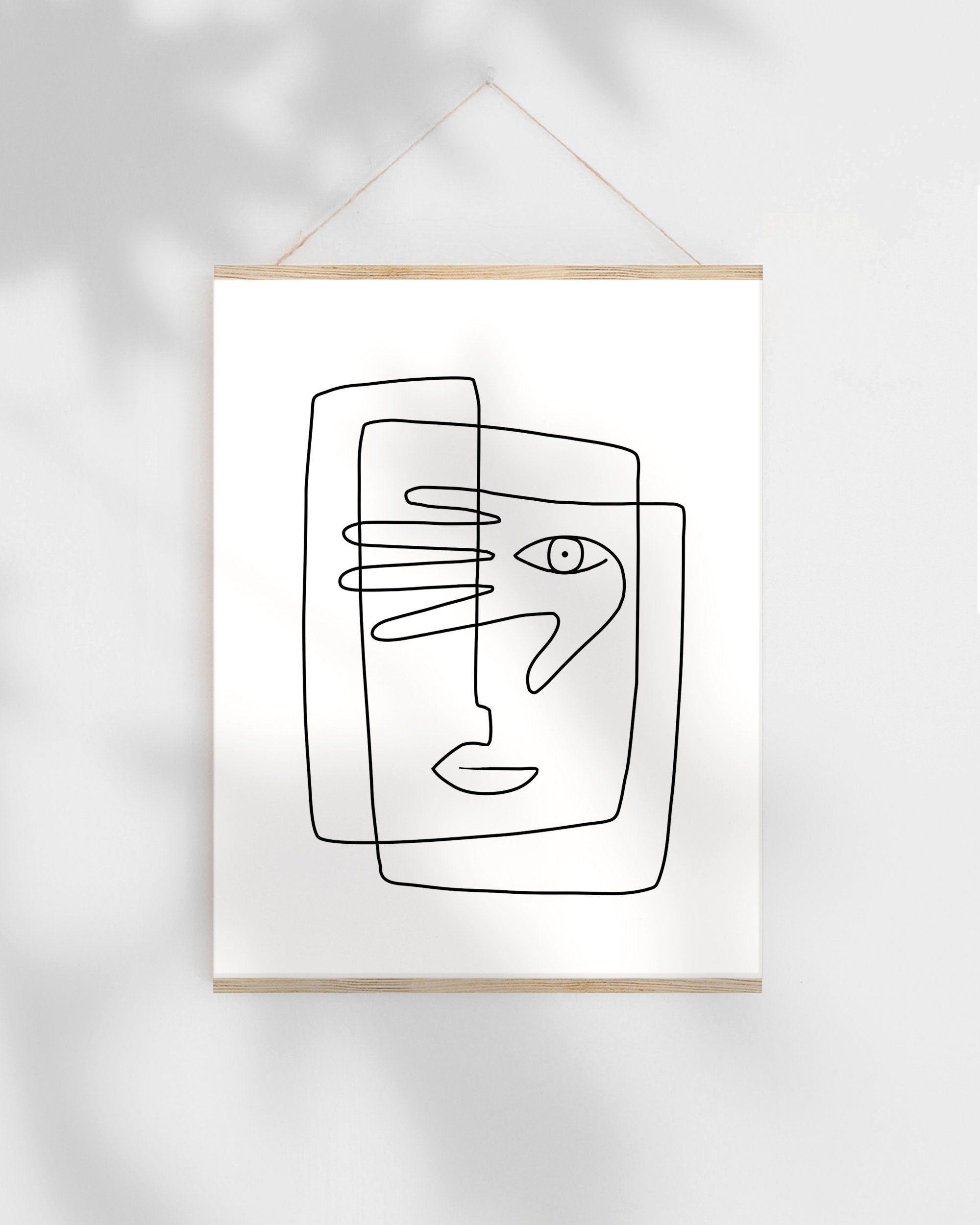 , Abstrakte Strichzeichnungen druckbare Skizze, Gesicht Illustration Kunstdruck, eine Strichzei…, Family Blog 2020, Family Blog 2020