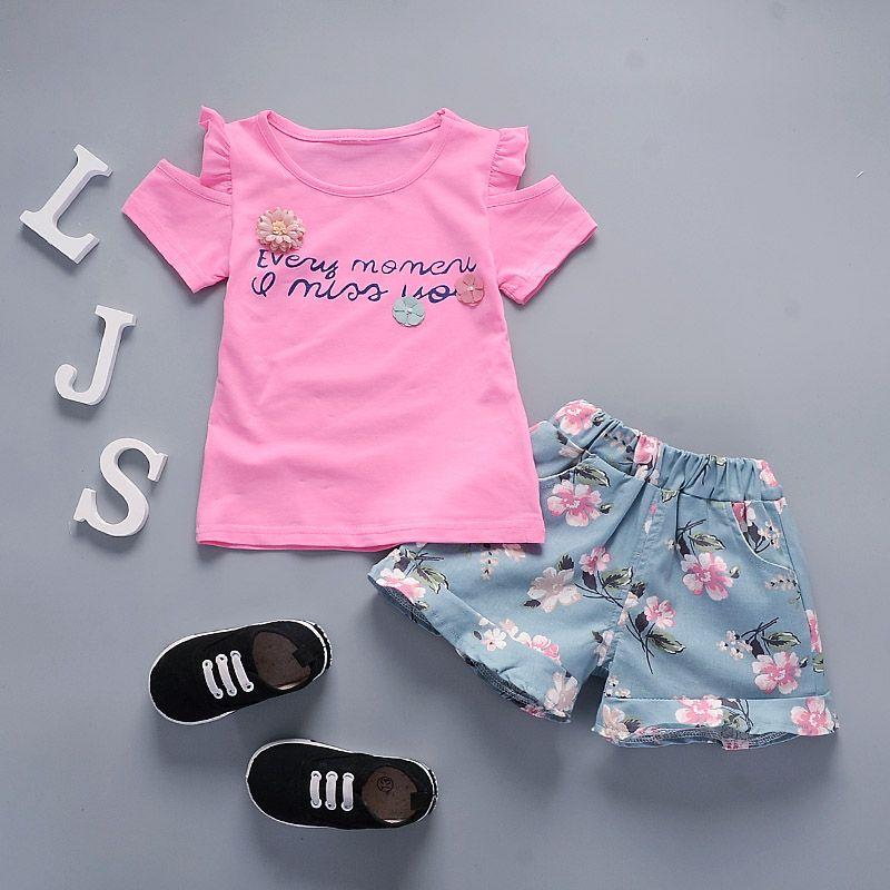 BibiCola Niñas 2 Unids Establece Flores Tops + Pantalones Cortos de la  impresión Que Arropan ropa de Bebé niñas establece ropa de las muchachas b0307dc27f3f