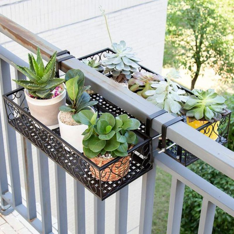 Costway Balcony Hanging Flower Stand Iron Rack Plant Stand Metal Shelf Plant Shelf Outdoor Deco Small Balcony Garden Plant Shelves Outdoor Small Balcony Design