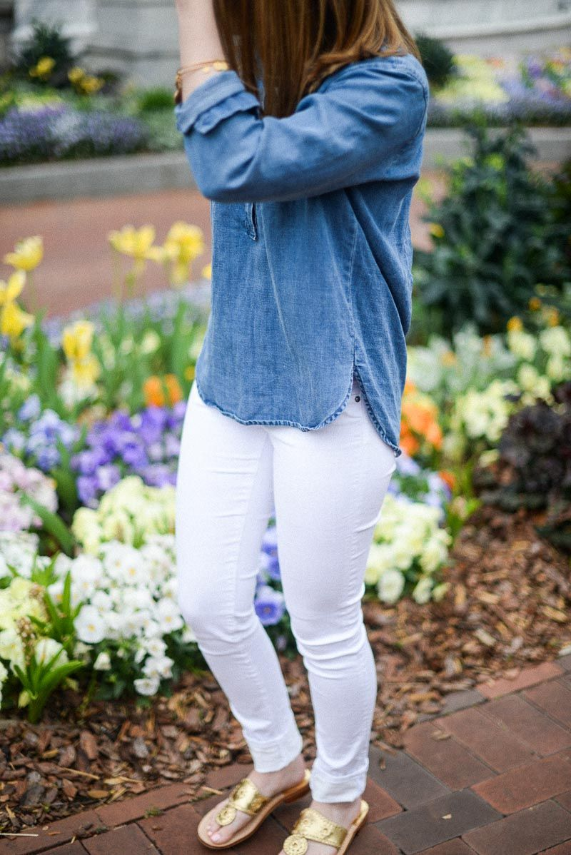 Your Typical Prep - White Jeans, Jack Rogers, and Chambray Shirts for Spring