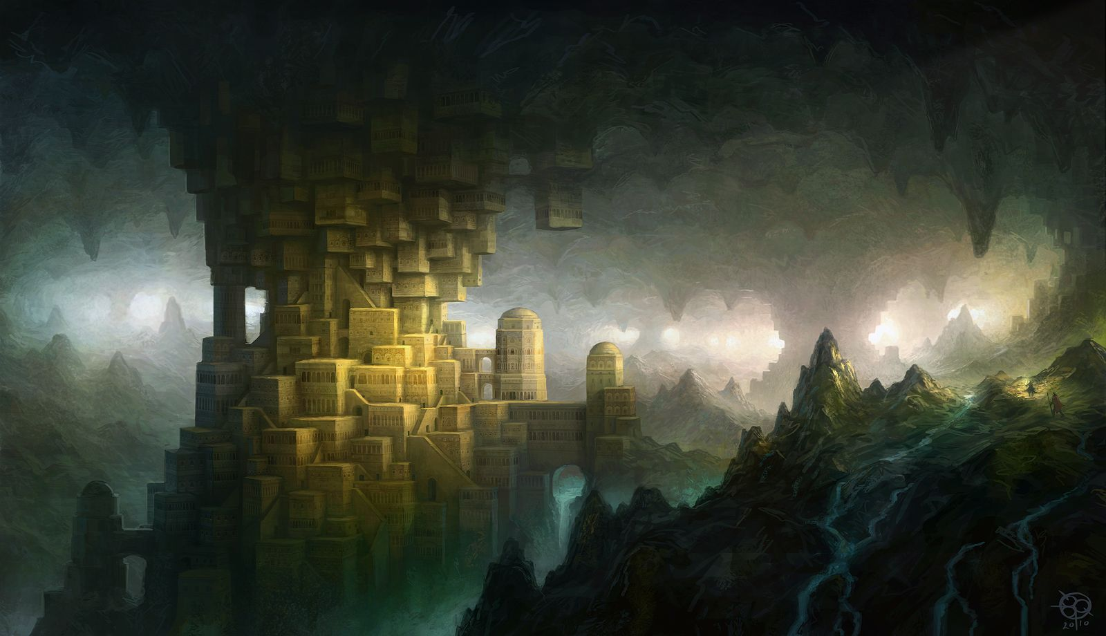underground streams artwork cavern cities hidden   Fantasy