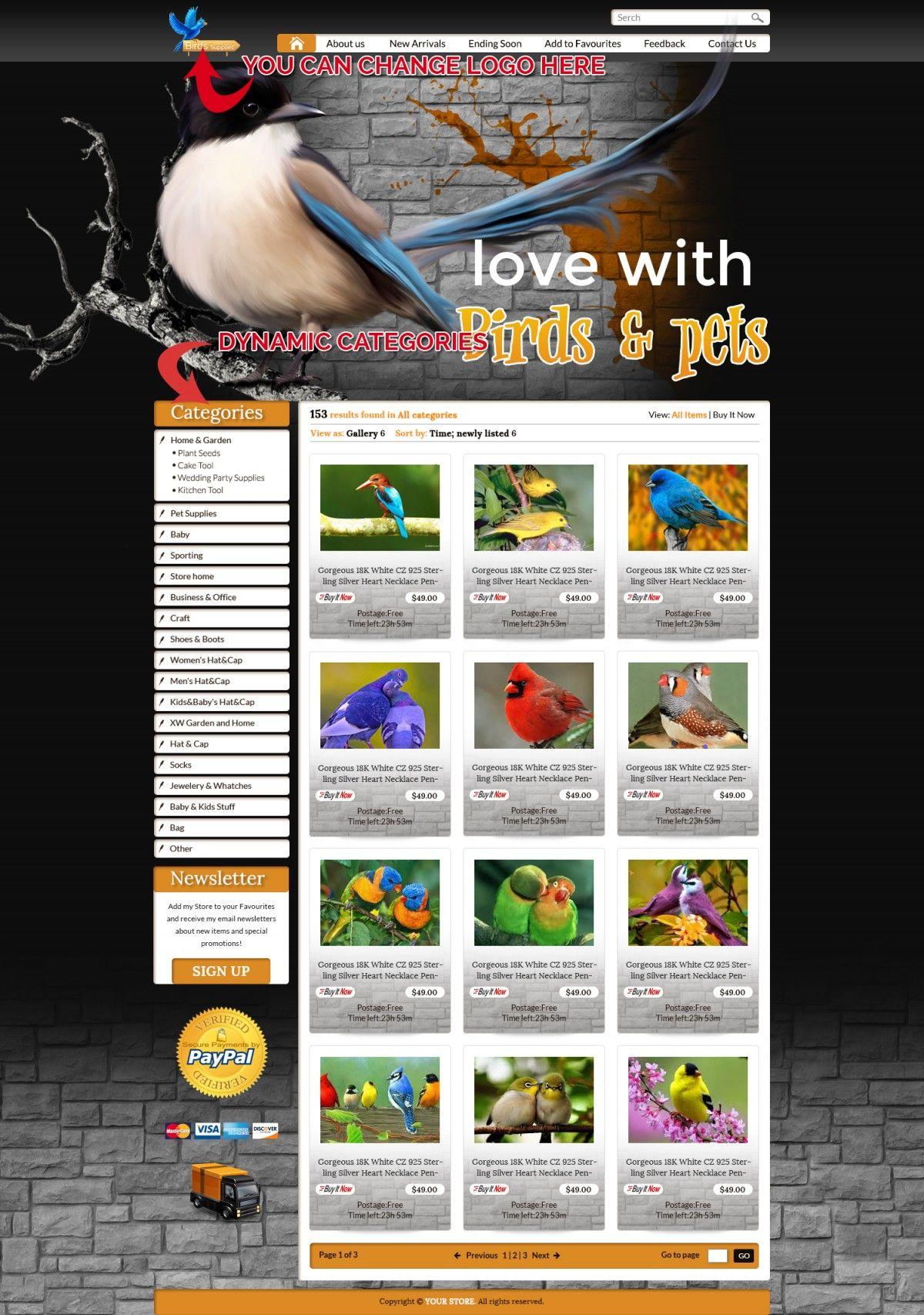 Beautiful Birds eBay Store & Listing Template £29 99
