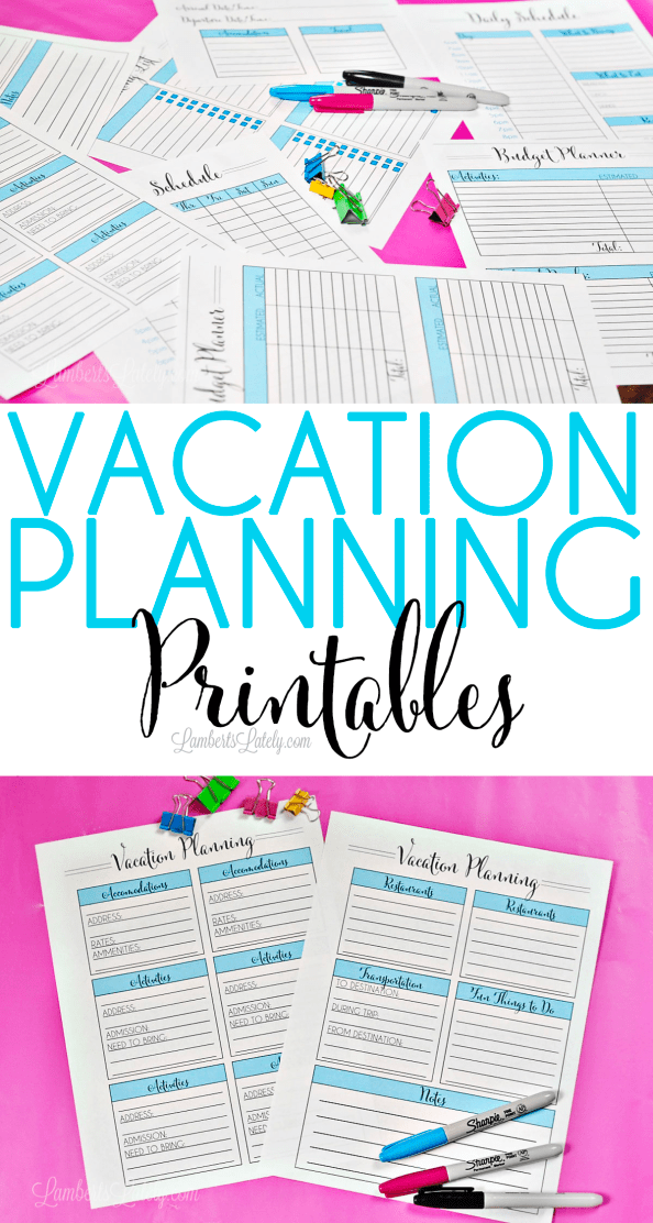 Organize In Style: Vacation Planning Printables | Vacation ...