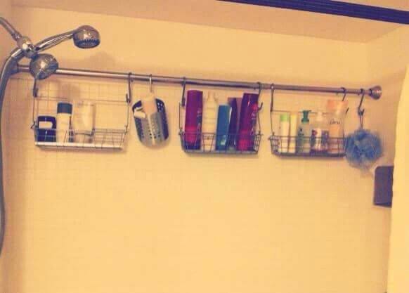Add extra storage with an extra shower curtain rod, then all you ...