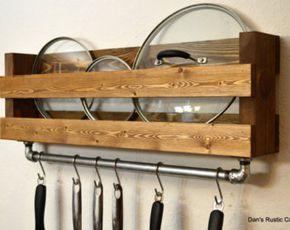 Wooden Shelf Pots Pans Hanger Wall Mount Rack Cookware Holder Storage Organizer Kitchen Pot Kitchen Rack Pot Rack Kitchen