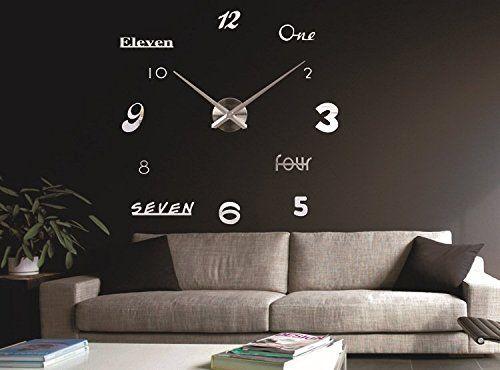 Life Up 3d Wanduhr Modern Leise Silber Diy Kreatives Design Gross Dekoration Uhr Deko Wandtattoo Offentliche Platze Wanduhren Modern Wanduhr Silber Wohnzimmer