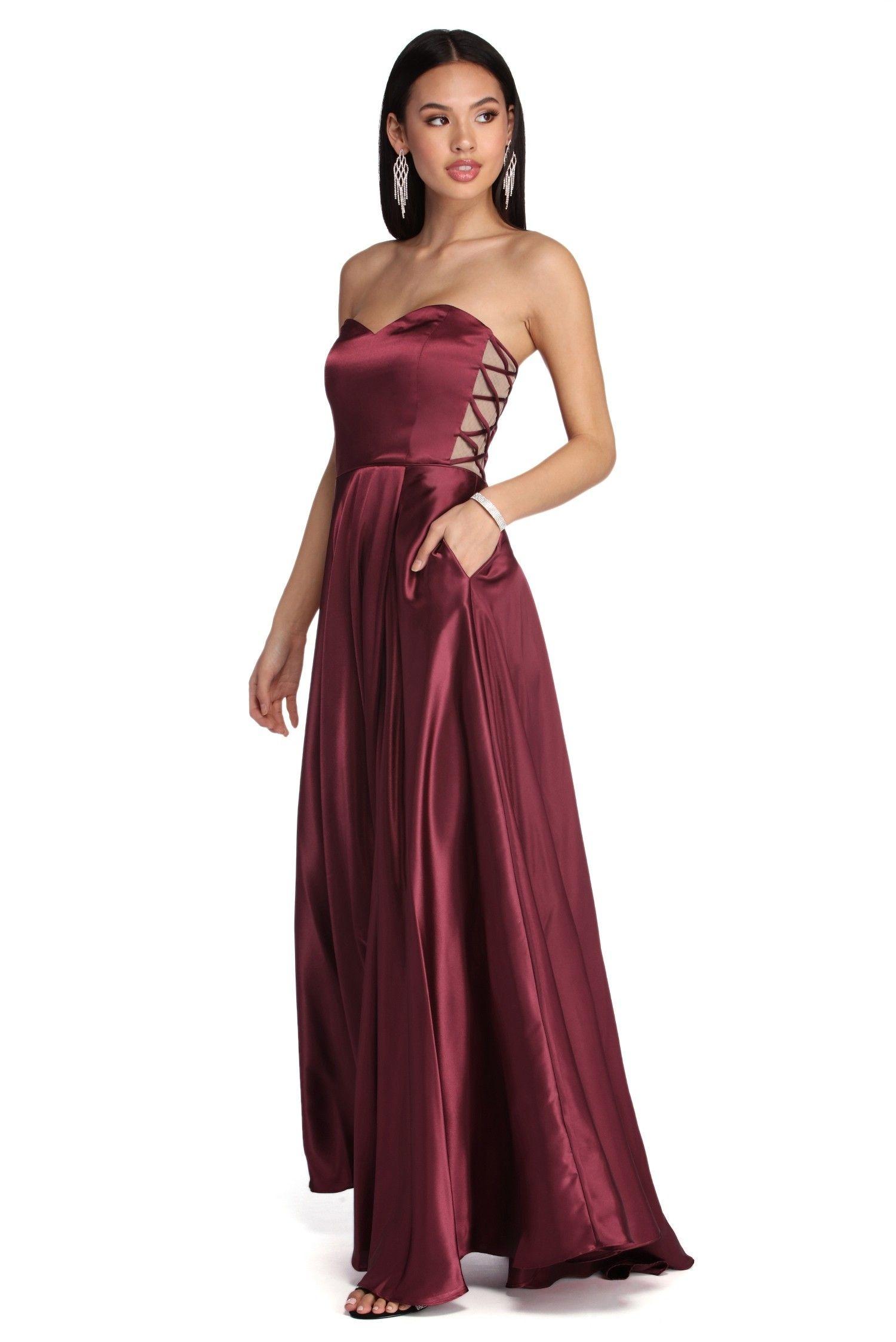 366f4cd59ca2 Courtney Formal Satin Sleeveless Dress in 2019   Ball   Strapless ...