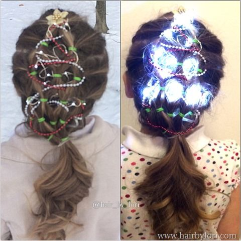 Elastic Christmas Tree Hairstyle Decorated With Portable Lights
