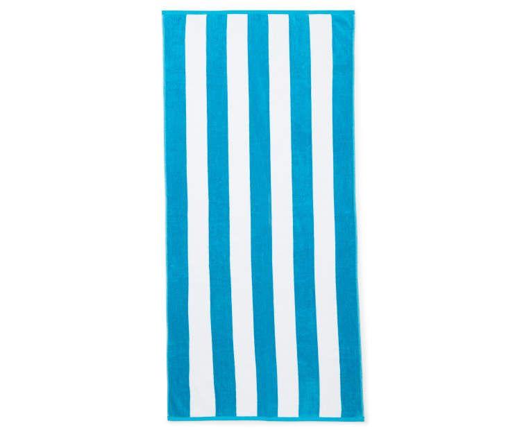 Aqua White Cabana Stripe Beach Towel 28 X 60 At Big Lots