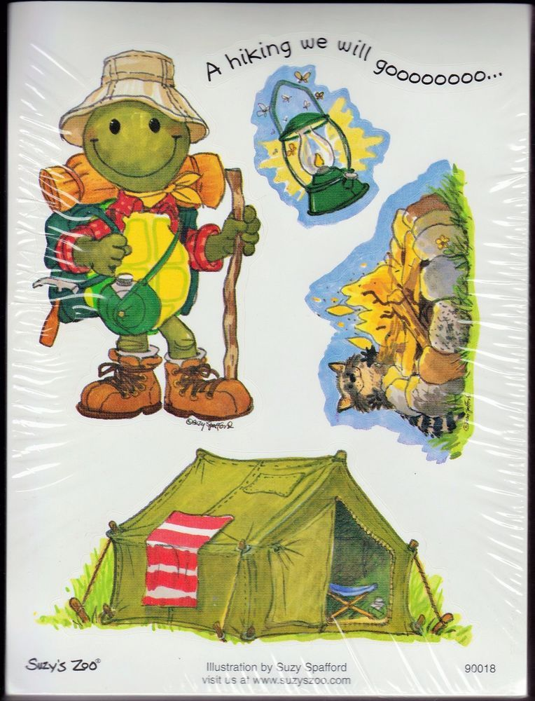 Suzys Zoo Scrapbooking Stickers 25 Sheets Camping Turtle Tent Scouts Campfire