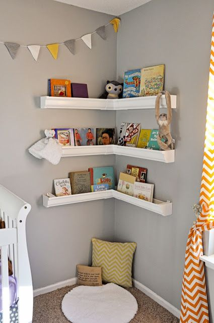 cute idea for books especially because a toddler cant reach to make a mess - Baby Room Bookshelves